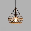 Diamond Shade Pendant Lamp Loft Style Rope Art Deco 1 Bulb Hanging Lamp for Hallway Foyer