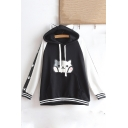 Long Sleeve Cartoon Dog Printed Colorblock Hoodie