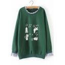 Fake Two Piece Round Neck Long Sleeve Cartoon Car Printed Relaxed Sweater