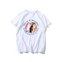 Cartoon Cat Letter Printed Short Sleeve Round Neck Leisure Popular Fitted White T-Shirt