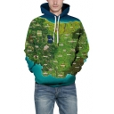 New Fashion 3D Green Castle Map Pattern Long Sleeve Loose Fitted Hoodie