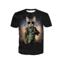 Cool 3D Cartoon Cat Pattern Round Neck Short Sleeve Black Fitted T-Shirt