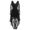 Retro Black V-Neck Cold Shoulder Long Sleeve Chic Lace-Panneled A-Line Asymmetrical Dress