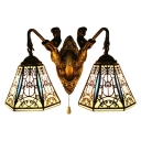Bell Wall Mount Fixture Tiffany Style Stained Glass 2 Bulbs Pull Chain Wall Light in Brass