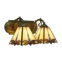 Beige Dragonfly Wall Lamp Tiffany Rustic Stained Glass 2 Lights Accent Wall Mount Fixture