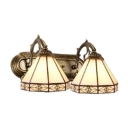 Beige Glass Geometric Sconce Light Tiffany Style Double Light Lighting Fixture for Coffee Shop