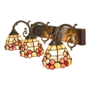 Floral Wall Mount Fixture Tiffany Style Shell 3 Heads Wall Sconce in Beige for Corridor
