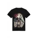 Hip Hop Style Black Short Sleeve Round Neck Floral Skull Letter Printed Straight T-Shirt for Men