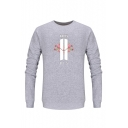 Popular Gray Cotton Floral Graphic Crew Neck Long Sleeve Mens Pullover Sweatshirt