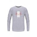 Popular Gray Cotton Floral Graphic Crew Neck Long Sleeve Mens Pullover Sweatshirt