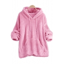 Fashion Plain Kangaroo Plain Drawcord Hood Long Sleeve Hoodie