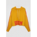Yellow Letter BOOM Stripes Printed Long Sleeve Loose Hoodie