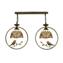 Victorian Metal Frame Drop Light Stained Glass 2 Lights Ceiling Pendant Lamp in Multi Color