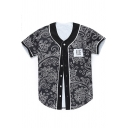 Fashion Black Button Down Short Sleeve Baseball Shirt