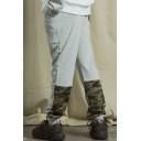 Fashionable Gray Camo Print Patchwork Elastic Drawstring Waist Loose Fit Workout Pants