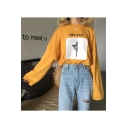 Leisure Yellow SEE YOU Cat Print Round Neck Long Sleeves Autumn Tee