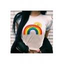 Summer Fashion White Rainbow Sun Pattern Crew Neck Short Sleeves Casual Tee