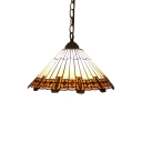 Stained Glass Cone Shade Drop Light Tiffany Style 1 Bulb Art Deco Suspended Light in Beige