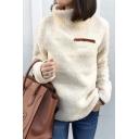 New Trendy High Neck Zip Embellished Chest Long Sleeve Solid Fleece Sweater