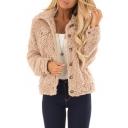 Hot Popular Winter Warm Lambswool Lapel Collar Button Front Khaki Coat