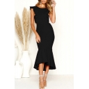Hot Popular Cap Sleeve Round Neck Suffle Detail Midi Plain Fishtail Dress
