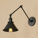 Adjustable Arm Wall Light Loft Style Metal 1 Light Lighting Fixture in Black for Library