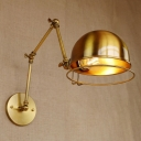 Swing Arm Sconce Light Loft Style Industrial Iron Single Light Wall Lamp in Brass