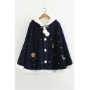 Christmas Feature Deer Snowflake Long Sleeve Single Breasted Pom Pom Embellished Hooded Coat