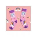 Creative Funny Cartoon Unicorn Printed Colorblock Cotton Pink Socks