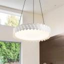 Drum Shape LED Pendant Fixture White Finish Modern Acrylic Hanging Light 18/21.5 Inch Width