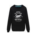 Black Long Sleeve Letter HOUSE STARK Printed Unisex Loose Sweatshirt