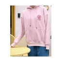 Strawberry Embroidered Long Sleeve Casual Hoodie for Girls