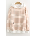 Classic Striped Printed Long Sleeve Basic Loose Fitted Hoodie for Juniors
