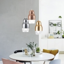 Chrome/Gold/Rose Copper Pendant Light Post Modern Glass Mini Hanging Lamp for Bathroom Bedside