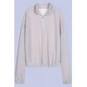 Warm-Up Long Sleeve High Neck Plain Half-Zip Beige Sweatshirt