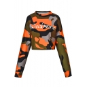 Leisure Long Sleeve Round Neck Camouflage Printed Orange Cropped Tee