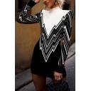 Women's Fashion Striped Colorblock Print Mock Neck Long Sleeve Black Mini Bodycon Dress