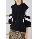 New Trendy Black and White Colorblock Two-Tone Relaxed Hoodie