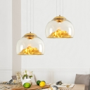 Silver/Gold Mountain View Hanging Lamp Post Modern Clear Glass Dome Shade LED-Single Pendant Light