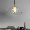 Clear Glass Shade Trapezoid Pendant Light Post Modern Champagne Gold Finish Single Suspension Lamp
