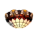 12in Wide Floral Theme Semi-Circle Glass Shade Wall Sconce Light for Restaurant Cafeteria