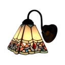 Traditional Tiffany Gooseneck Wall Sconce Stained Glass Decorative Wall Light in Multicolor