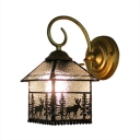 Wall Lamp Lodge Tiffany Style Rippled Glass Decorative Wall Sconce for Corridor Bedroom