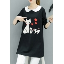 Peter-Pan Collar Long Sleeve Cartoon Cat Heart Printed Loose Fitted Tunic Black T-Shirt