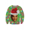Christmas Hat Character Pattern Long Sleeve Round Neck Green Cotton Sweatshirt