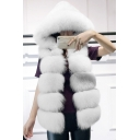 Winter's Trendy Warm Faux Fox Mink Hair Hooded Sleeveless Solid Vest Coat