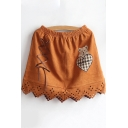Cute Cartoon Bear Embroidered Lace Up Hollow Out Suede Elastic Waist Mini A-Line Brown Skirt