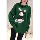 Casual Long Sleeve Round Neck Cartoon Bunny Letter Printed Soft Sweatshirt