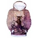 Winter's Long Sleeve 3D Animal Cat Octopus Printed Leisure Purple Hoodie