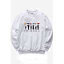Casual Letter FRIENDS Character Printed Long Sleeve Round Neck Unisex White Sweatshirt